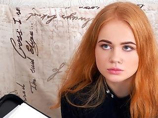Huge fake cumshot red head college girl